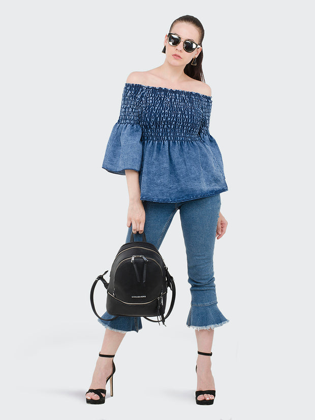Denim Blue Off-Shoulder Top-1984
