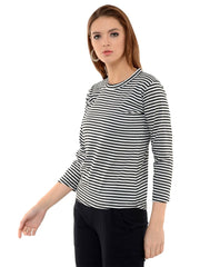 Black N White Hosiery Lycra Striped Top-2039