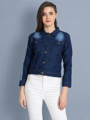 Dark Blue Striped Buttoned Denim Jacket-2152B