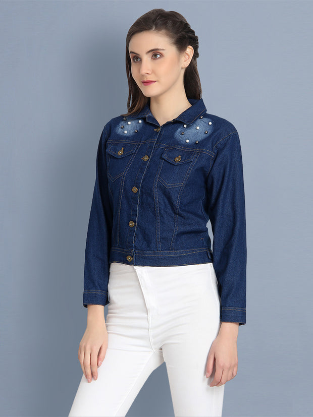 Dark Blue Embellished Pearl Denim Jacket-2177B