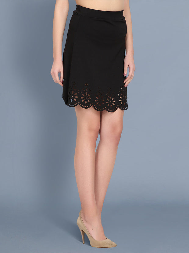 Black Imported Crepe Cut-Outs Mini Skirt-2443
