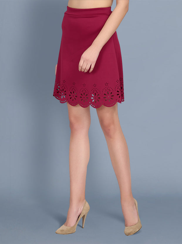 Maroon Imported Crepe Cut-Outs Mini Skirt-2445