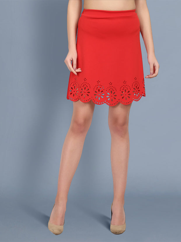 Red Imported Crepe Cut-Outs Mini Skirt-2446
