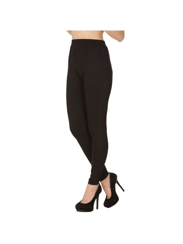 Black Plain Full Length Cotton Churidar Legging-Black