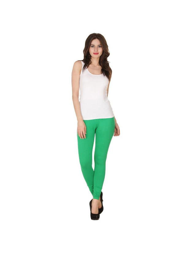Green Plain Full Length Cotton Churidar Legging-Green