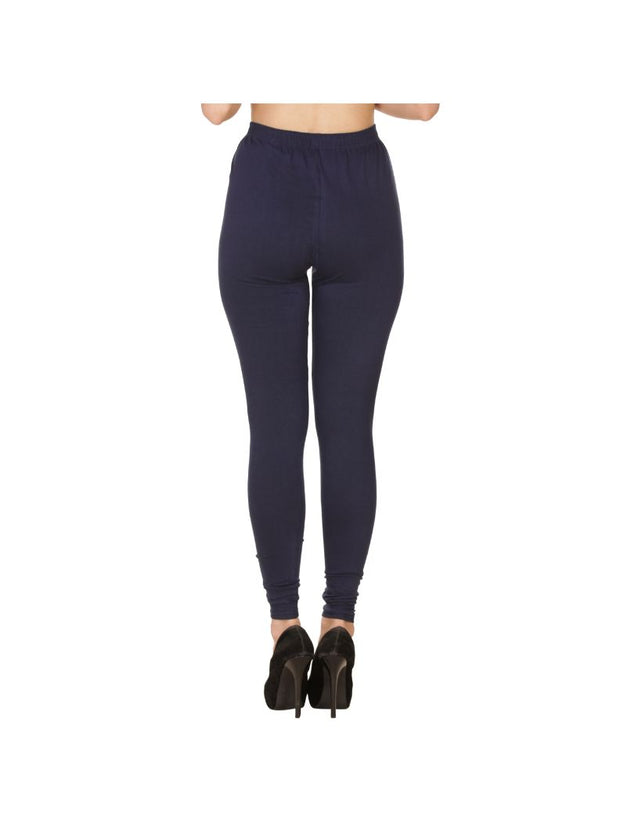 Navy Plain Full Length Cotton Churidar Legging-Navy