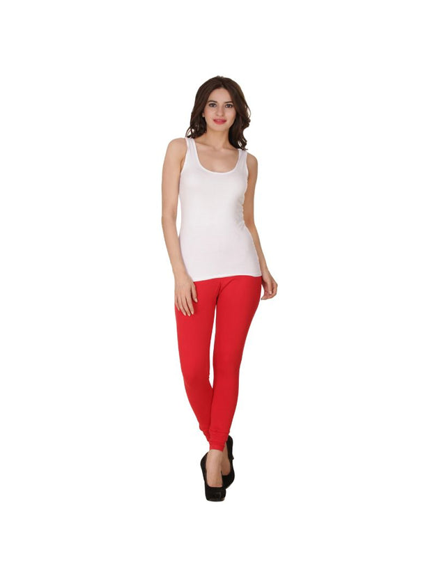 Red Plain Full Length Cotton Churidar Legging-Red