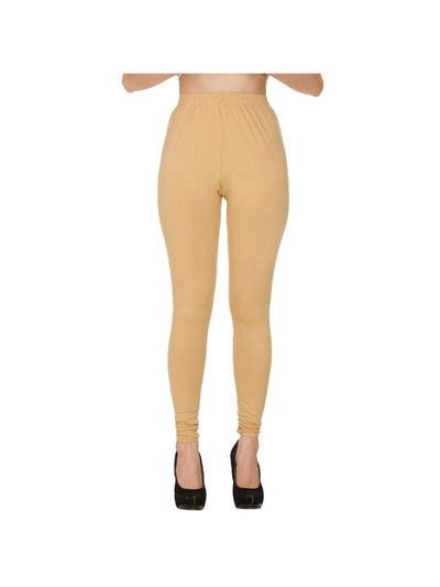 Beige Plain Full Length Cotton Churidar Legging-Beige