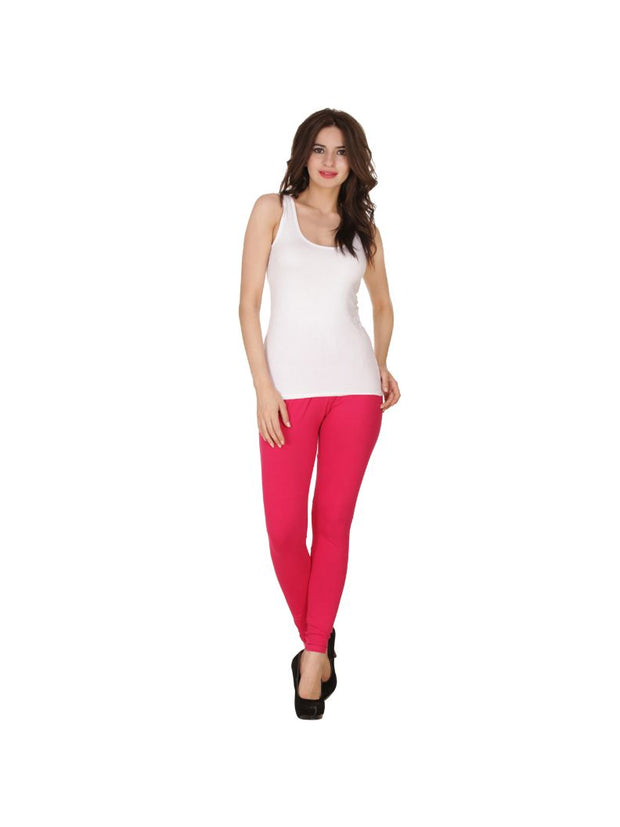 Pink Plain Full Length Cotton Churidar Legging-Pink