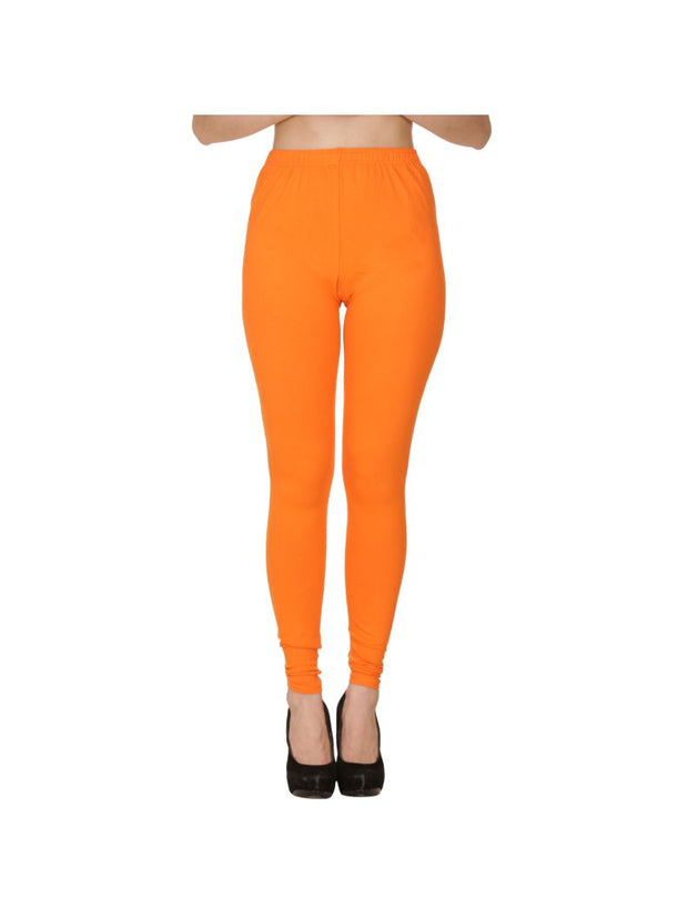 Orange Plain Full Length Cotton Churidar Legging-Orange