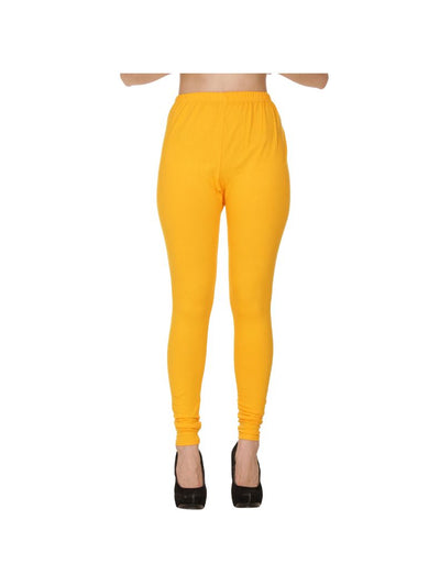 Yellow Plain Full Length Cotton Churidar Legging-Yellow