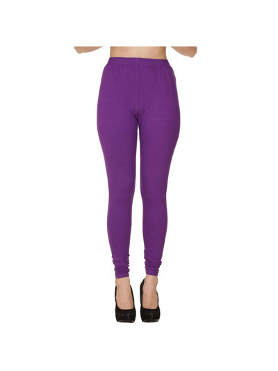 Purple Plain Full Length Cotton Churidar Legging-Purple