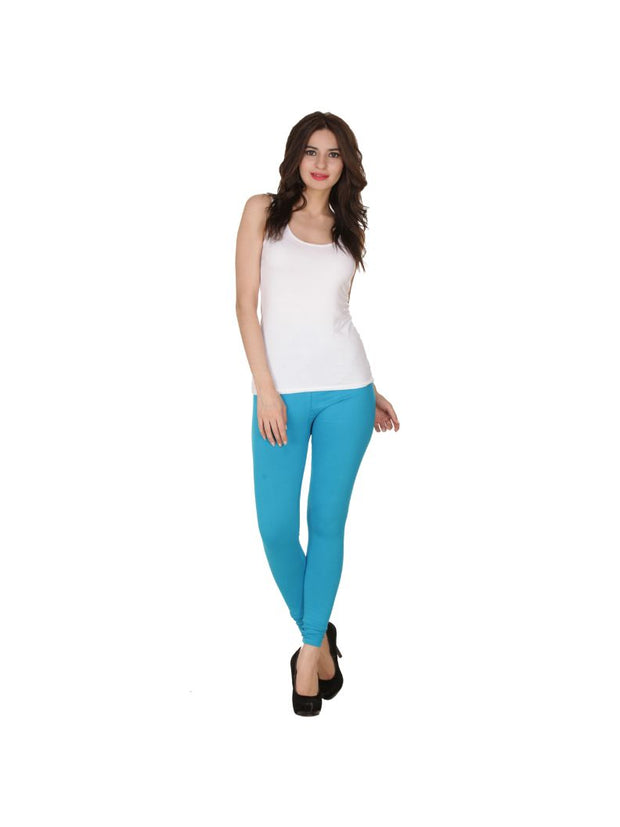 Sky Plain Full Length Cotton Churidar Legging-Sky