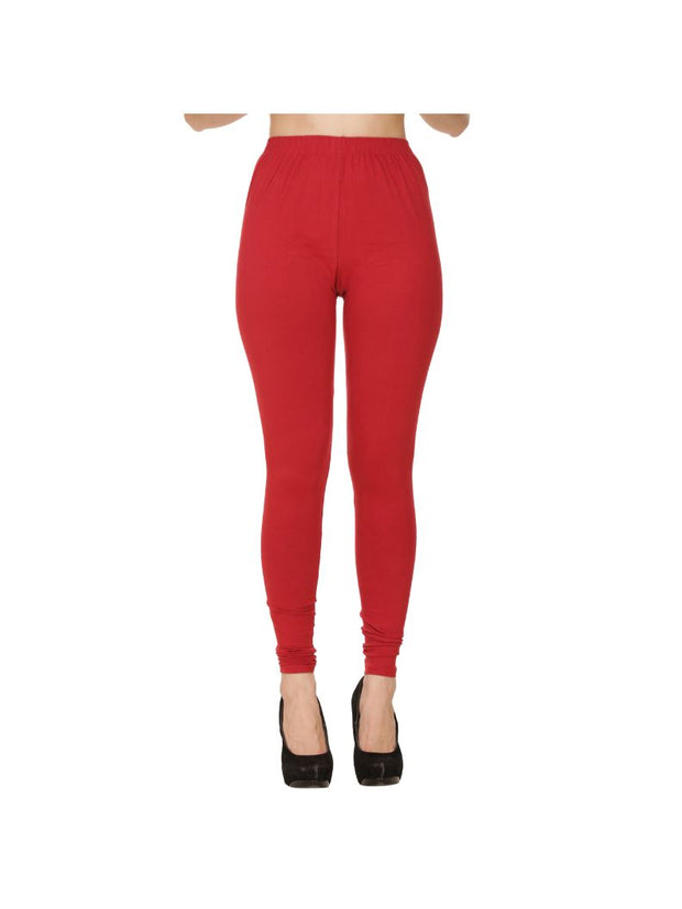 Maroon Plain Full Length Cotton Churidar Legging-Maroon
