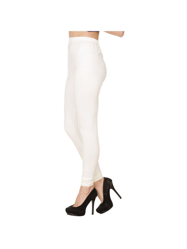 White Plain Full Length Cotton Churidar Legging-White