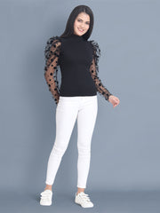 Black Carrera Polka Dot Net Top-2447