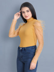 Mustard Carrera Solid Net Top-2452