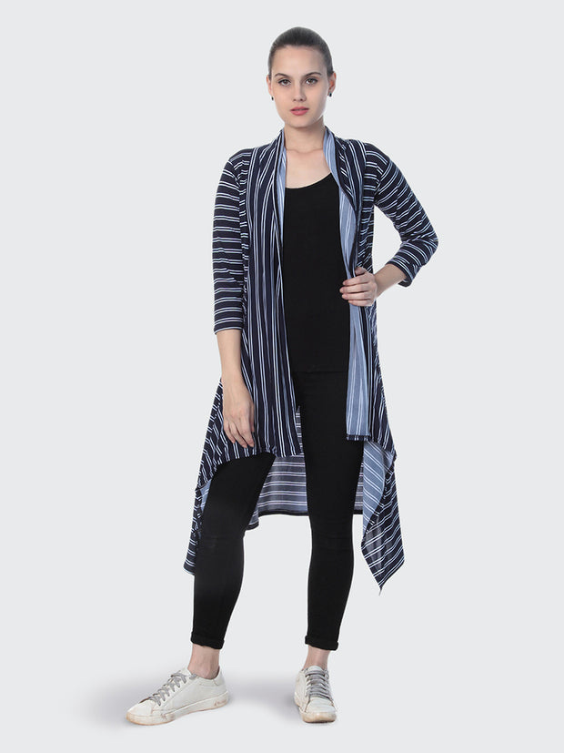 Navy Hosiery Lycra Striped Long Shrug-2236