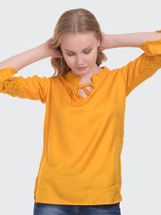 Yellow Rayon 3/4th Sleeve Solid Top-2018