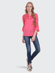 Pink Rayon 3/4th Sleeve Solid Top-2017