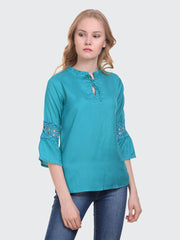 Sky Blue Rayon 3/4th Sleeve Solid Top-2019