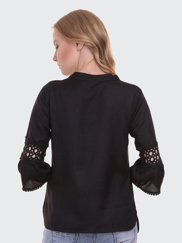 Black Rayon 3/4th Sleeve Solid Top-2020
