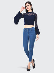 Navy Flared Fashion Sleeve Carrera Lace Top-2056