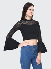 Black Flared Fashion Sleeve Carrera Lace Top-2057
