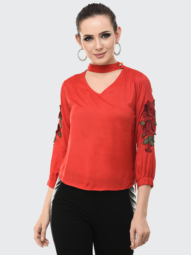 Red Rayon Rose Patch Top-2049