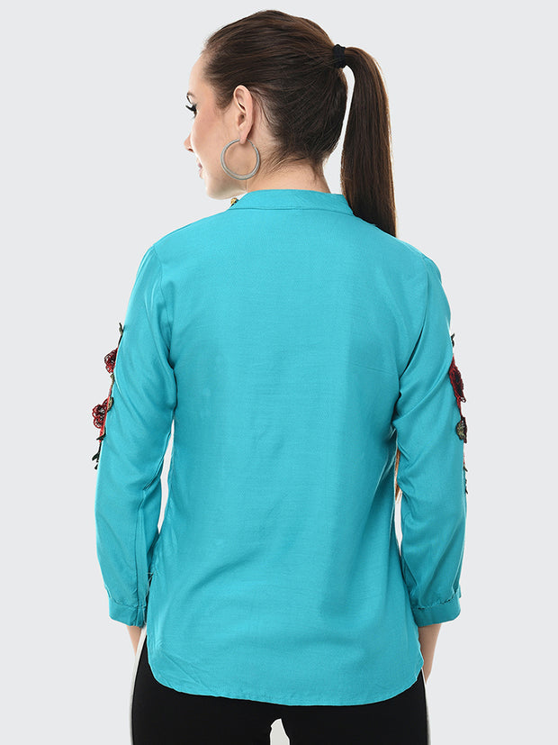 Stunning Sky Blue Rayon Rose Patch Top-2045