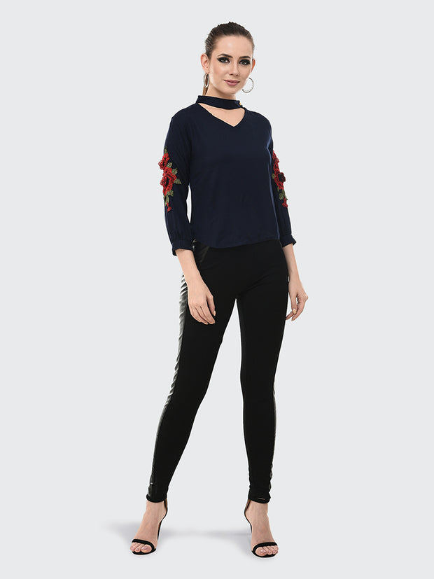 Navy Blue Rayon Rose Patch Top-2046