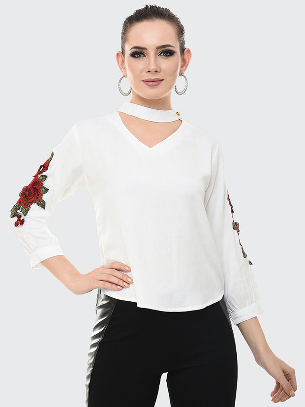 White Rayon Rose Patch Top-2047