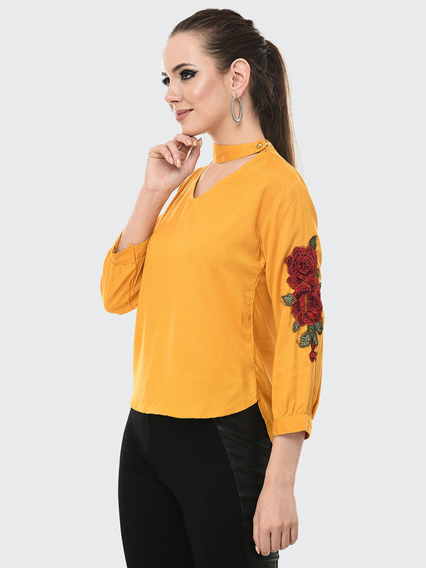 Mustard Rayon Rose Patch Top-2048
