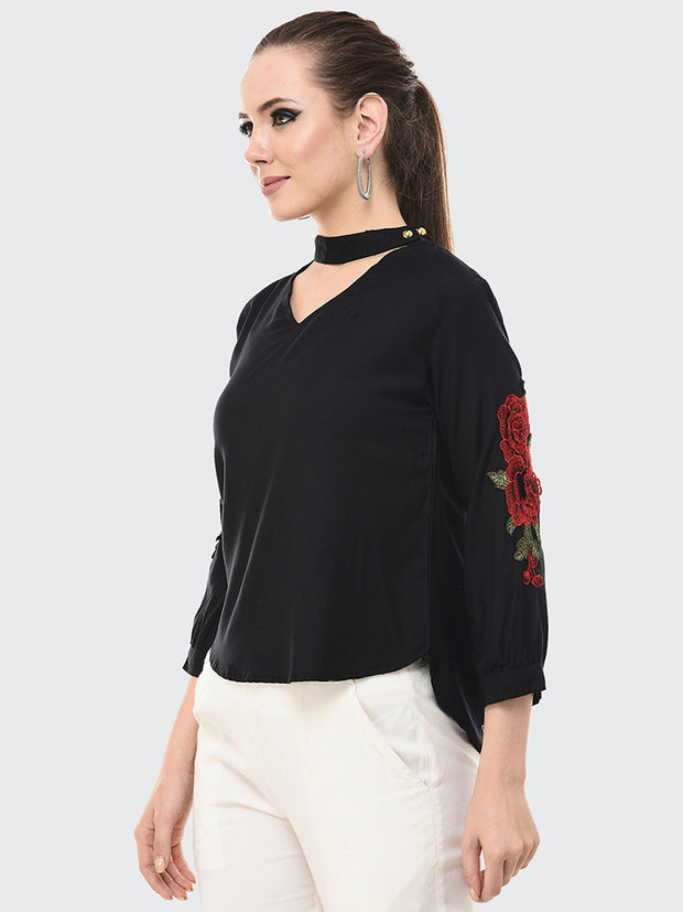 Black Rayon Rose Patch Top-2050