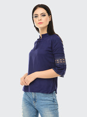 Navy Rayon 3/4th Sleeve Solid Top-2027
