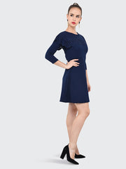 Navy Imported Crepe Cut-Outs Midi Dress-2068