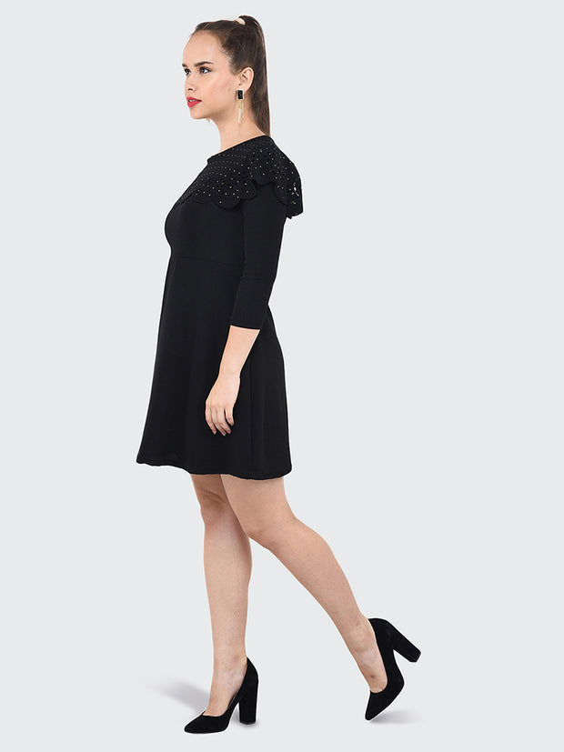 Black Imported Crepe Cut-Outs Midi Dress-2069