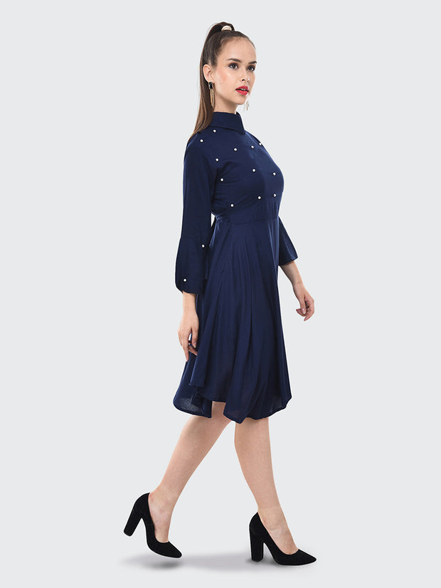 Navy Rayon Pearl Embellished Knee-Length Dress-2072