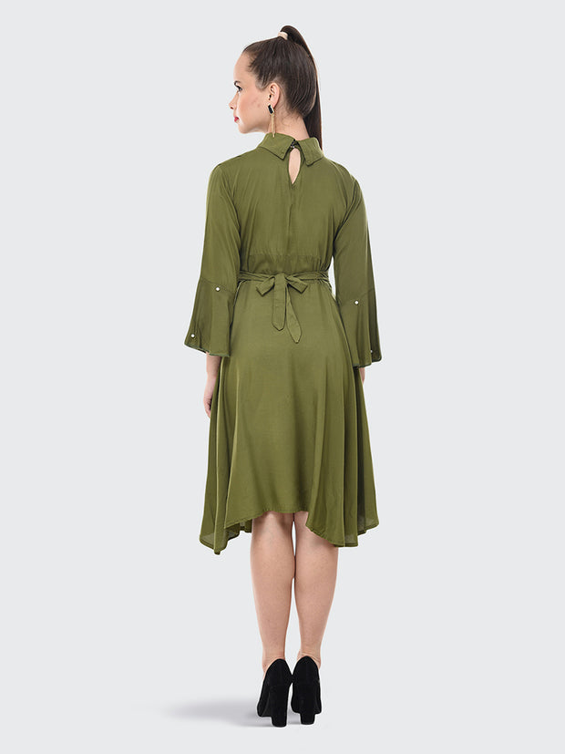 Green Rayon Pearl Embellished Knee-Length Dress-2073