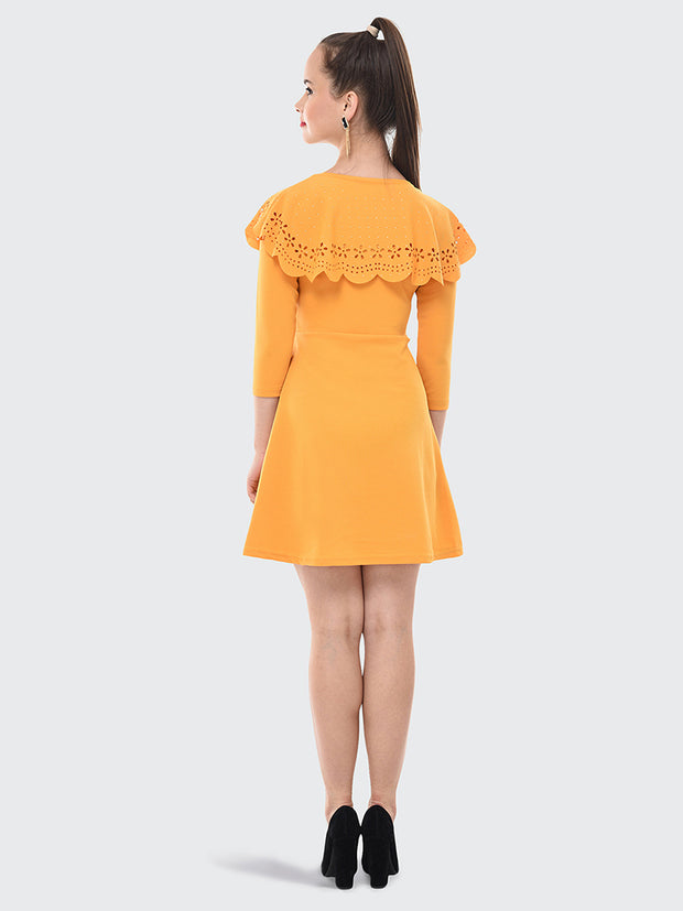Yellow Imported Crepe Cut-Outs Midi Dress-2071