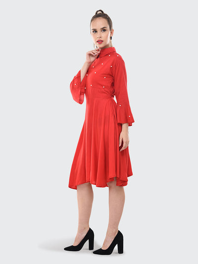 Red Rayon Pearl Embellished Knee-Length Dress-2075