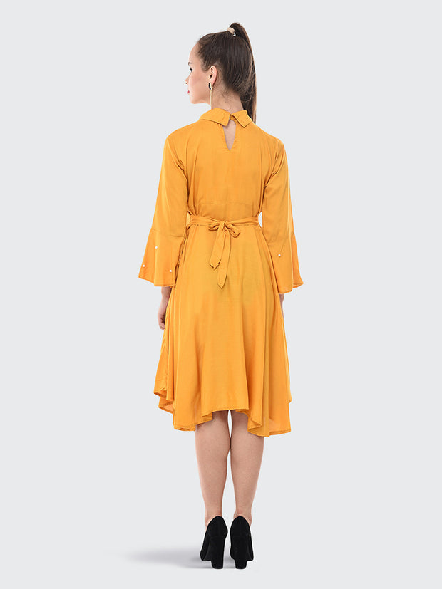 Yellow Rayon Pearl Embellished Knee-Length Dress-2076