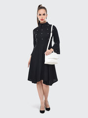 Black Rayon Pearl Embellished Knee-Length Dress-2077