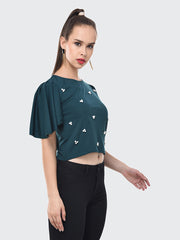 Rama Green Imported Crepe Pearl Embellished Short Top-2086