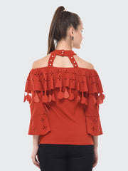 Crimson Red Imported Crepe Off-Shoulder Top-2087