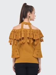 Yellow Imported Crepe Off-Shoulder Top-2088