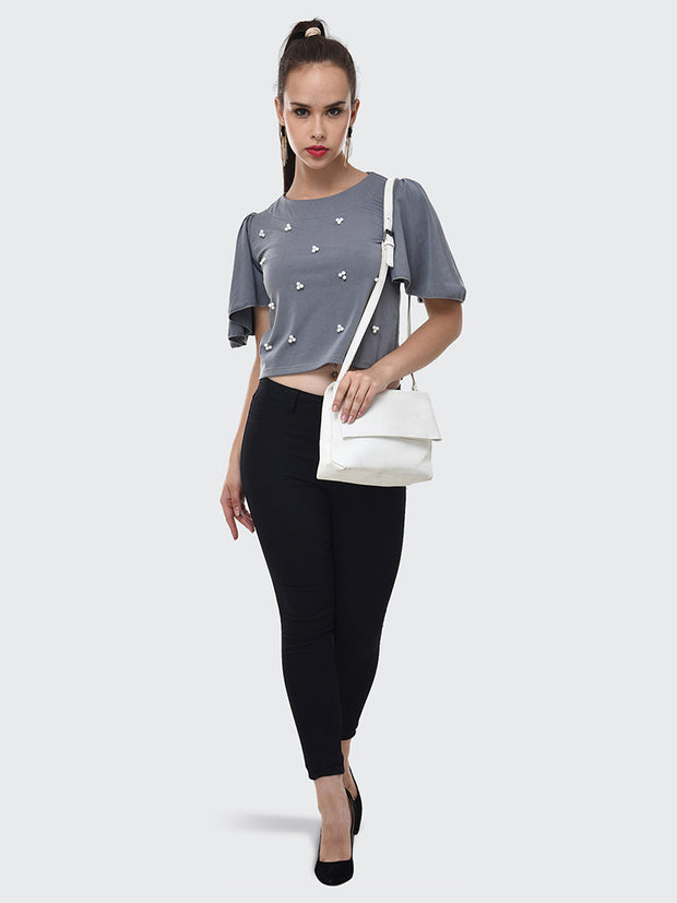 Grey Imported Crepe Pearl Embellished Short Top-2082