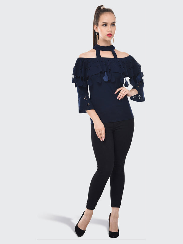 Navy Imported Crepe Off-Shoulder Top-2089