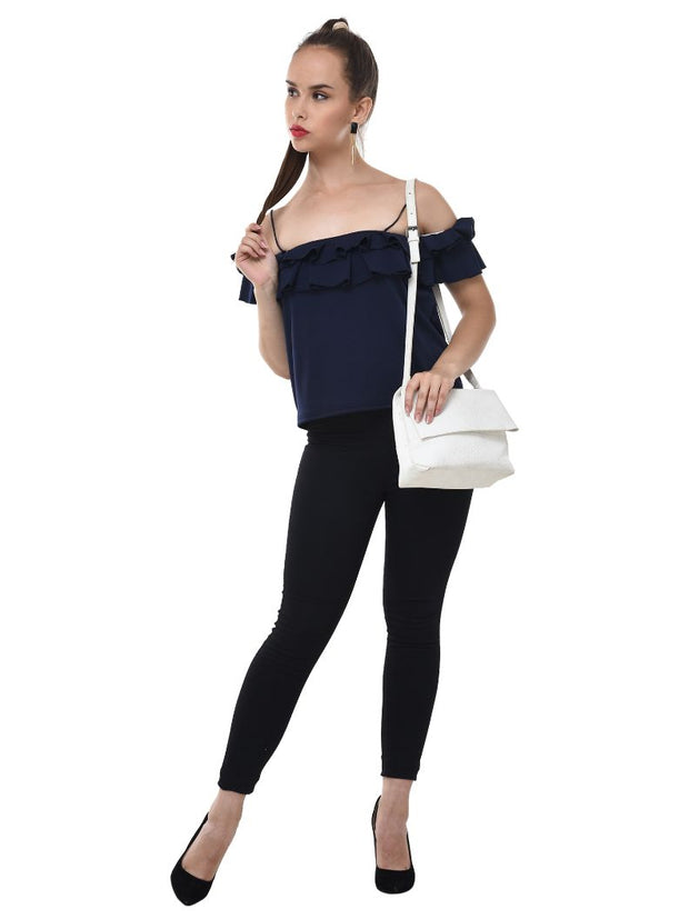 Navy Imported Crepe Off-Shoulder Crop Top-2081