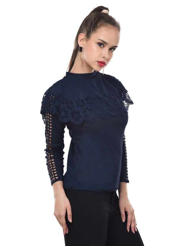 Navy Imported Crepe Cut-Outs Top-2096